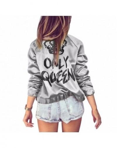 Autumn Women Bomber jacket Women Coat Crown Queen Print Long Sleeve Zipper Top Coat Biker Casual Short Outwear - Gray - 4J39...