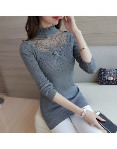 Women Pullovers Spring Sexy Lace Pullover Sweaters Fashion Butterfly Embroidery Hollow Out Turtleneck Knitted Tops Pull Femm...