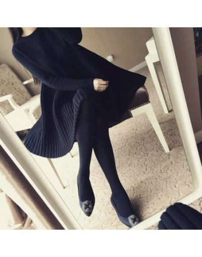 2018 Large size women's dress 200 pounds autumn winter new dress covered belly sweater knitting sweater - Gray - 20111118658...