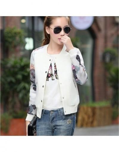 Women Jacket Brand Tops Flower Print Girl Plus Size Casual Baseball Sweatshirt Button Thin Bomber Long Sleeves Coat Jackets ...