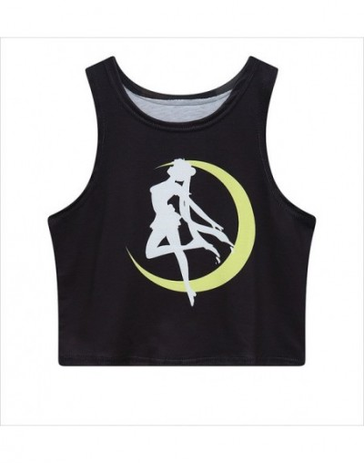 2019 Tank Shirts New Summer Women 3D T-shirt Print Anime Cartoon Sailor Moon Crop Top Casual Girls Fashion Tank Shirts - 1 -...