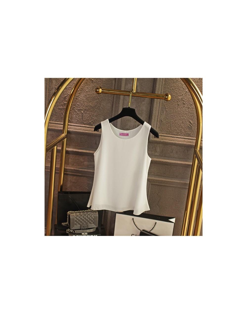 2019 summer New Casual women Chiffon shirt Red Chiffon blouse Plus size O-neck blouses sleeveless Loose female Vest Tops - W...