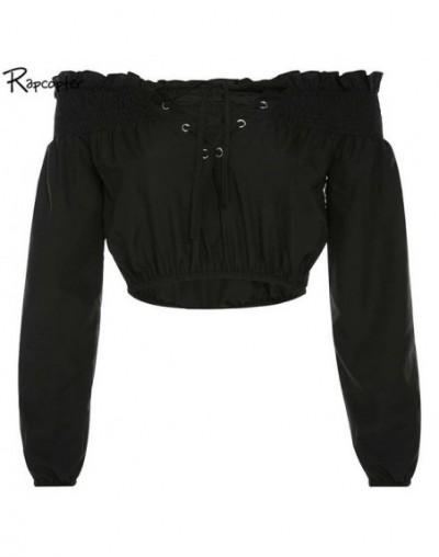 Slash Neck Fashion Women Lace-up Tshirt Long Sleeve Black Solid Streetwear Midriff-baring Tops Ladies Korean Loose Tee - Bla...