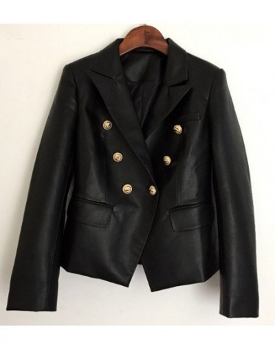 New High Quality Lion Head Metal Button Double-breasted Leather Suit Blazer Coat for Spring and Autumn Women Black Short Jac...