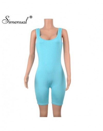 Solid Casual Basic Rompers Womens Jumpsuit Sporty Workout Active Playsuit Wear Sleeveless 2019 Fashion Biker Playsuits - blu...