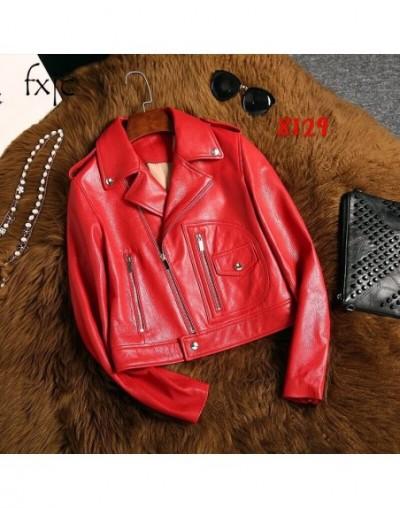 2019 autumn new zip zippered red leather long sleeves shirt fashion short selling female jacket jacket - Yellow - 4O39391360...