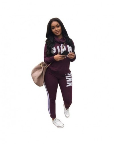 Women Pink Letter Print Tracksuits Women Two Piece Set Spring Street Sweatshirt Tops and Jogger Set Suits Casual 2pcs Outfit...