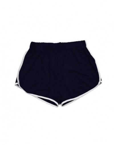 Women Cotton Blend Summer Shorts Pants Contrast Binding Side Split Elastic Waist Patchwork Casual Short Pant - Blue - 413011...