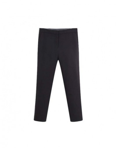 women elegant black pencil pants zipper fly design elastic waist streetwear fashion slim fit chic trousers mujer KB051 - bla...