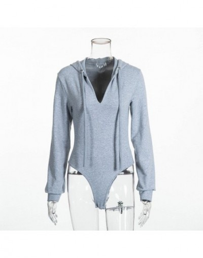 2019 Women Sexy Deep V Neck Hooded Bodysuits Long Sleeve Bodycon Female Solid Color Jumpsuits Gray Playsuits Outfits - Gray ...