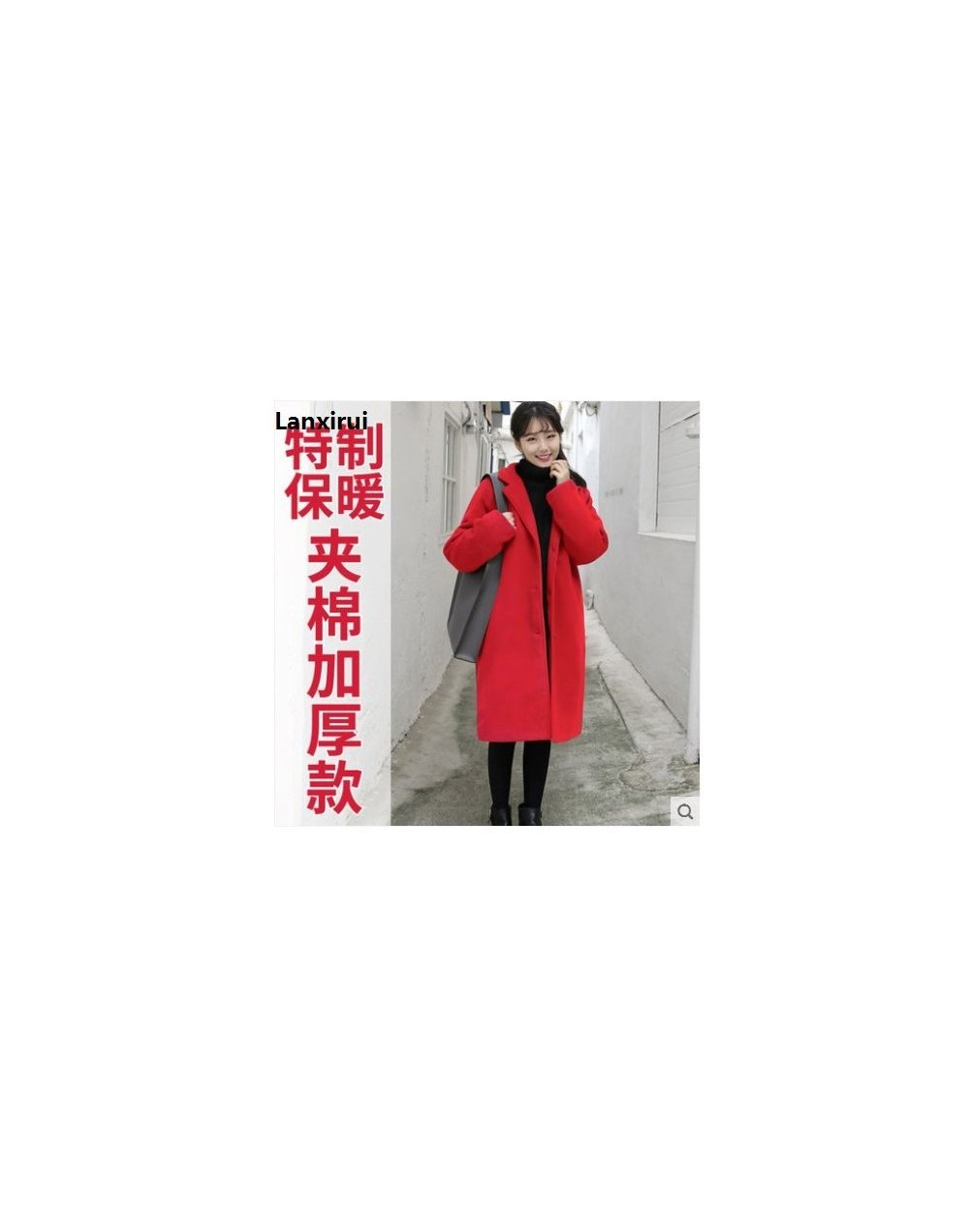 Winter Women Casual Coat Fashion Female Pockets Jackets Large Size Long Woolen Womens Outerwear Females Overcoat Korean Styl...