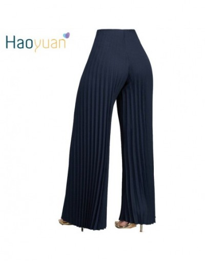 Casual Loose Pleated Pants Streetwear White Blue Red 2019 Autumn Women Pants Sexy Wide Leg Trousers Festival Party Pants - b...