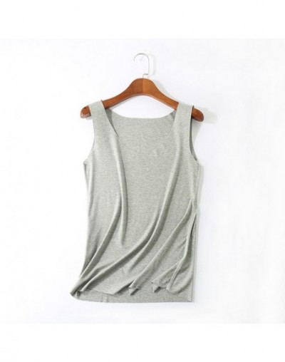 2019 Women Tank Solid Color candy color sexy top T shirts Women Fashion Cotton tshirt T-shirt Female Summer - gray U neck -...