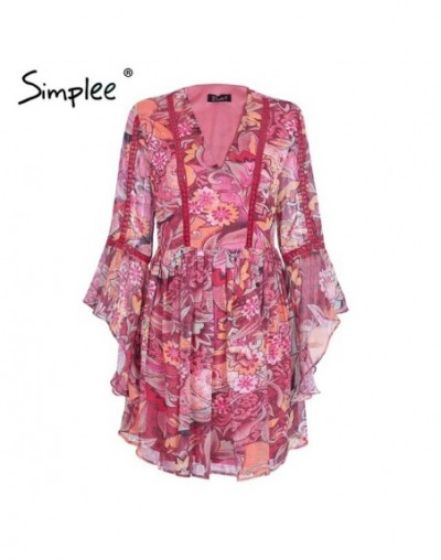Flare sleeve v neck print dress women Casual floral high waist dress autumn winter Fashion robe dress female vestidos - Prin...