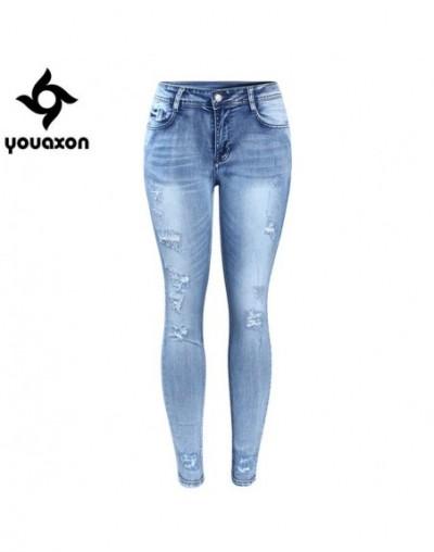 Classic Distressed Jeans Women Mid Waist Stretchy Ripped True Denim Pants Skinny Pencil Jeans Woman - blue - 493910744796