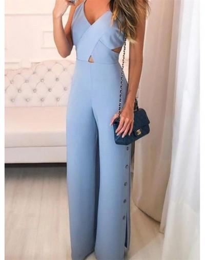 Women Elegant Blue Office Romper Leisure Overalls Sexy Summer Crisscross Spaghetti Strap V-Neck Button Slit Side Jumpsuit - ...