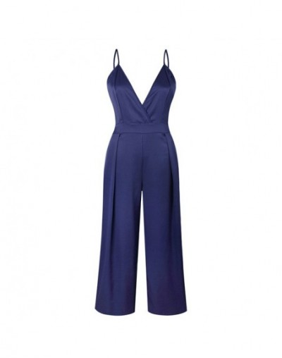 2018 Women Solid Deep V Neck Jumpsuit Sleeveless Spaghetti Strap Draped Long Wide Pants Sexy Backless Summer Pants - Navy - ...