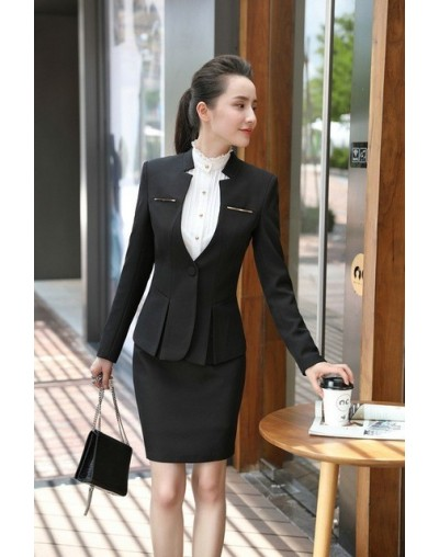 2019 New Styles Professional Women Business Suits With Skirt and Blazer Coat Elegant Gray Office Ladies Career Blazers Sets ...