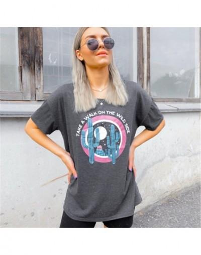 2019 Summer T-shirt Women Tops Tee Take A Walk On The Wild Side Print T-Shirt Female O-Neck Tops t shirt Women Casual Tees -...