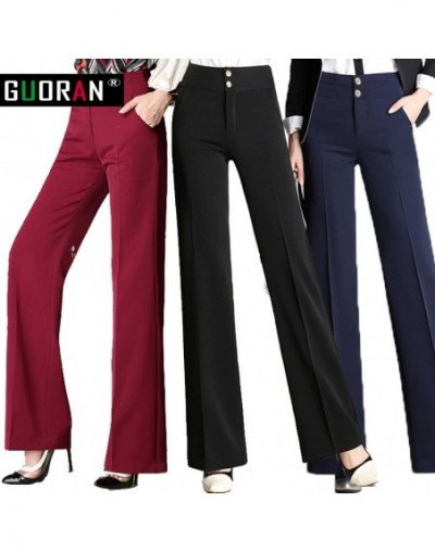 Hot Sale!!Women linen office work trousers plus size 4XL ladies wide leg pants female soft long formal trousers black red bl...