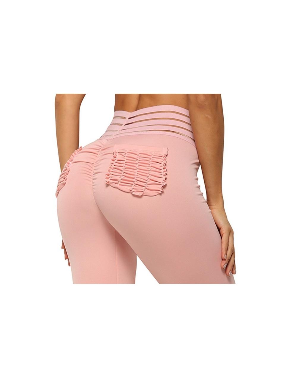 Women Fitness Push Up Leggings Mesh High Waist Elastic Workout Legging Pants 2019 Fashion Ladies Pink Pocket Leggings Plus S...