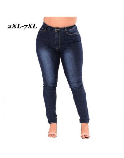 Plus Size Women Skinny Jeans Zip Fly Pockets High Waist Cotton Female Jeans 7XL Fashion Solid Denim Jeans Trousers 2019 - Bl...