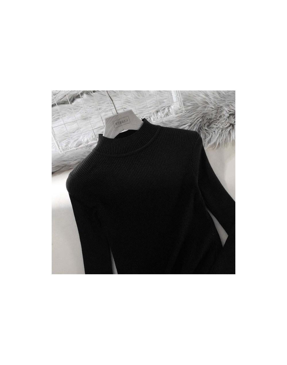 2019 Knitted Women high neck Sweater Pullovers Turtleneck Autumn Winter Basic Women Sweaters Slim Fit Black - Black - 4C4114...