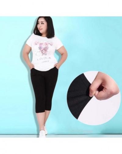 2019 Plus Size Women High Stretch Waist Pants Women Pencil Pants Spring Summer black blue Pants capris Female 6XL - black - ...