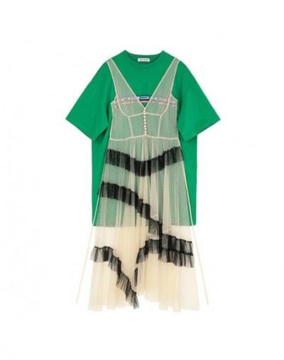2019 New Spring Summer Round Neck Short Sleeve Green Mesh Split Joint Big Size Temperament Dress Women Fashion Tide JU724 - ...