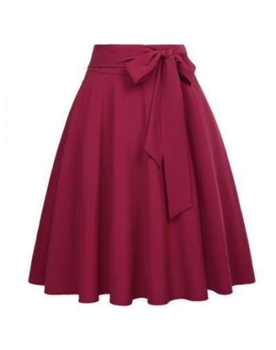 Summer Skirts Bowknot Women Wine Red Black Saias Solid Color High Waist Self-Tie Bow-Knot Embellished A-Line Female Skirt - ...