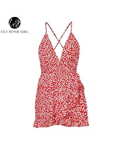 Girl Red V Neck Backless Sexy Summer Romper Ruffles Floral Short Playsuit Boho Beach Women Short Jumpsuits Romper - Red - 32...