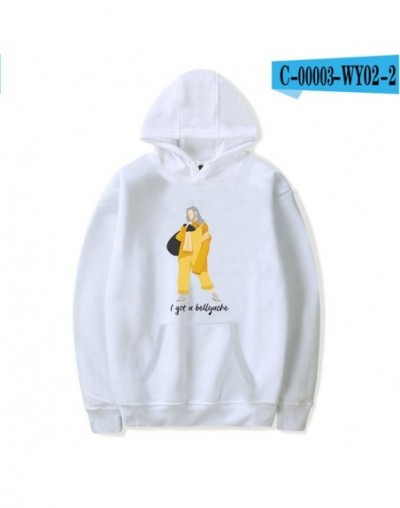 Billie Eilish 2019 Print Hooded hoodies sweatshirts Women/Men tracksuit streetwear Harajuku Casual hit hop clothes - white -...