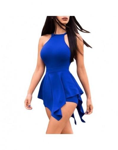 Women Elegant Jumpsuits & Rompers Halter Irregular Sleeveless Slim Bodycon Overalls Cocktail Club Party Bodysuit - Navy Blue...