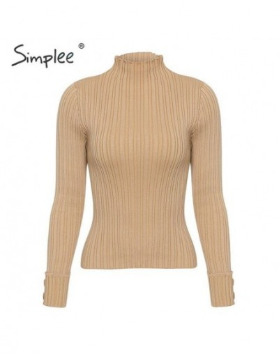 Knitted buttons long sleeve slim sweater 2019 Women autumn winter solid pullover sweater Female casual elastic sweater - Kha...