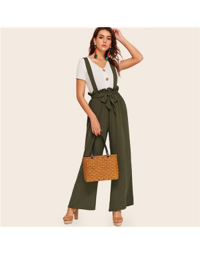 Army Green Paperbag Waist Wide Leg Pants With Strap Women 2019 Summer Elastic Waist Trousers Ladies Solid Pants - Army Green...
