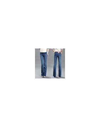 High Quality 2018 Women's slim mid waist boot cut jeans light blue fashion bell bottom trousers flares pants - light blue - ...