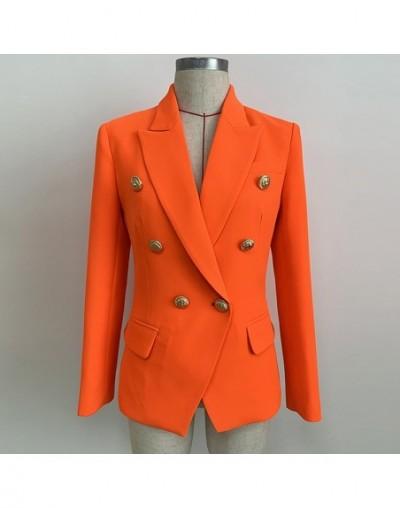 HIGH QUALITY Newest 2019 Designer Blazer Women's Lion Buttons Double Breasted Blazer Jacket Neon Orange - 4M4145022946