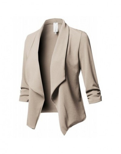 Women Tops Ladies Coat Cardigan Office Fashion Business Lapel Collar Formal Outerwear Solid Color - Khaki - 5T111257963066-2