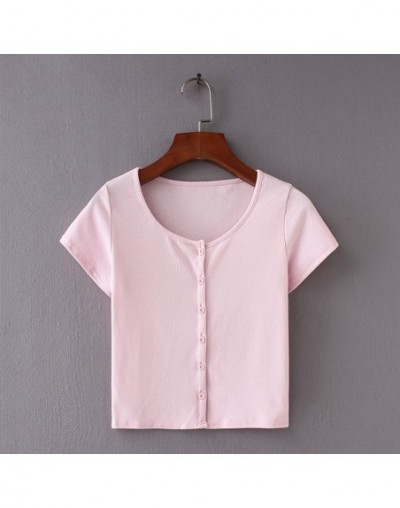 Women Fitted Ribbed Crop Top Button Front Rib Crop Tee - pink - 4C3992964240-5