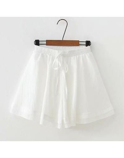 Cool Chiffon Shorts Women Elastic High Waist Shorts Female Loose Beach Mini Short Pants Ladies White Green 2019 Summer - Whi...