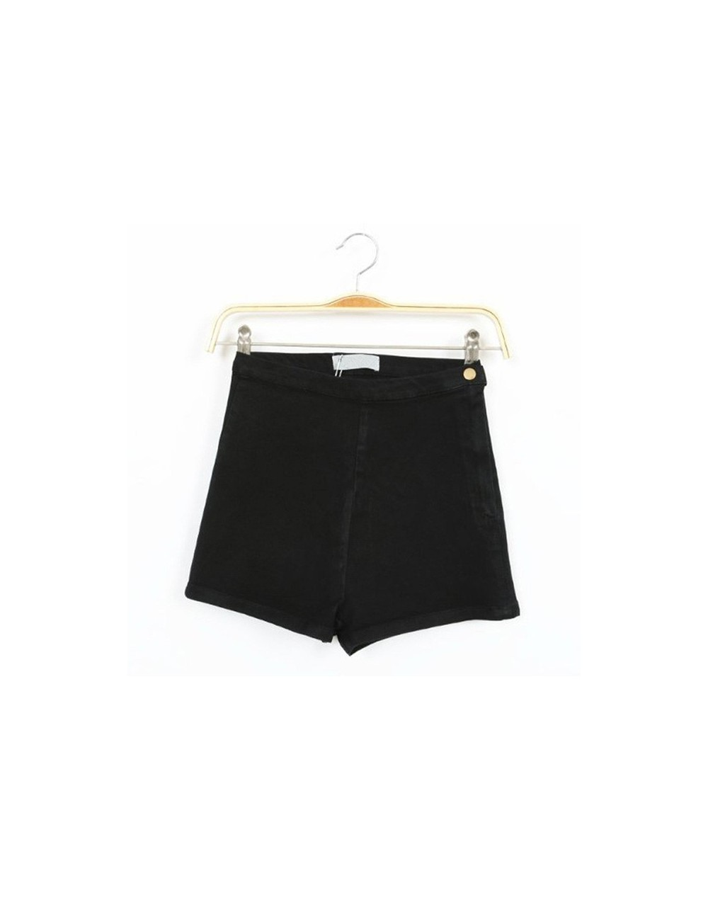 Colorful Apparel New Hot Fashion Solid Side Zipper High Waist Shorts Women/Slim Denim Shorts for Women CA66A - black - 4Y367...