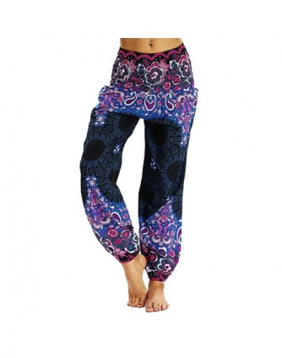 Women Thai Harem Trousers Boho Festival Hippy Smock High Waist Pants trousers pants for Women's pants - Purple - 4U3094565963-3