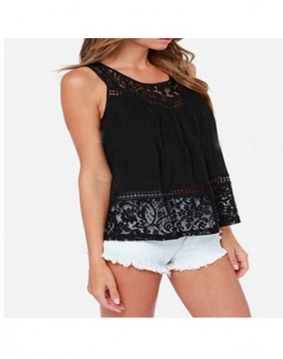S-5XL 2016 Summer Women Hollow Out Crochet Lace Tank Tops Fashion Casual Sleeveless Black & White Beach Loose Crop Tops A911...