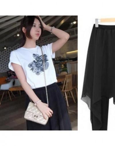 2019 New Spring And Summer Women's Korean IrregulChiffon Skirt Backing False Two Xl Slim Skirt Leggings - Black - 463800609599