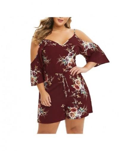 Floral Print High Waist Spaghetti straps short white Jumpsuit Women summer overalls V-Neck Off Shoulder Rompers Plus Size 5X...