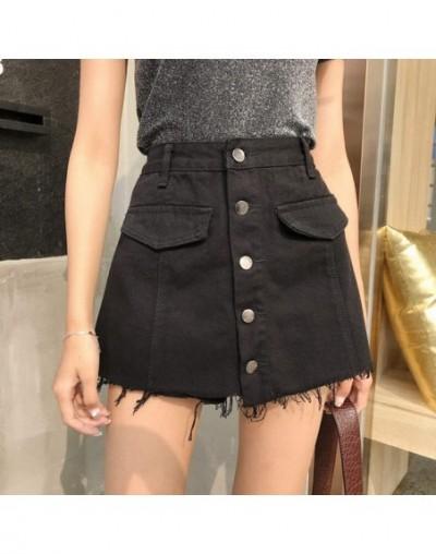 Summer Fashion Button Design High Waist Jean Shorts Skirt Women Casual Frayed Fringe Denim Shorts Femme Short Jeans - Black ...