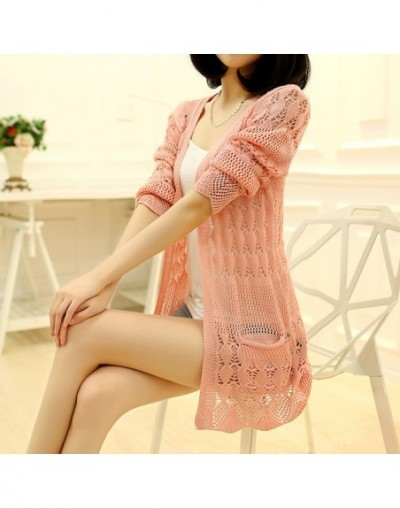 2019 Fashion Knitted Cardigan Loose Pocket Hollow Long Sleeve Women Sweater Female Cardigans Women's Coats Outerwear - pink ...