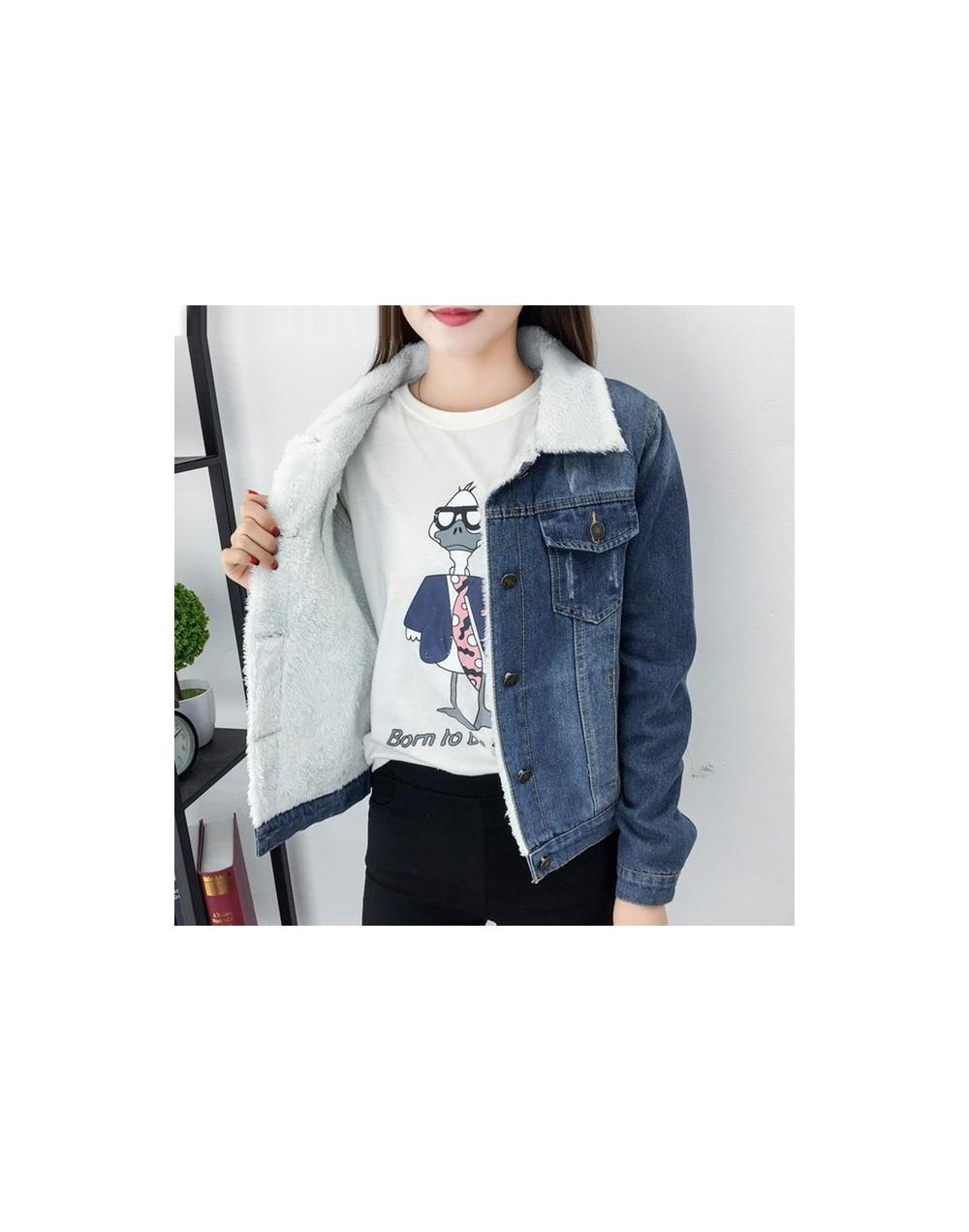 2019 Winter New Large Size 4XL Women's Cotton Coat Plus Velvet Thickening Thin Fashion Lamb Hair Denim Jacket Jeans Female C...