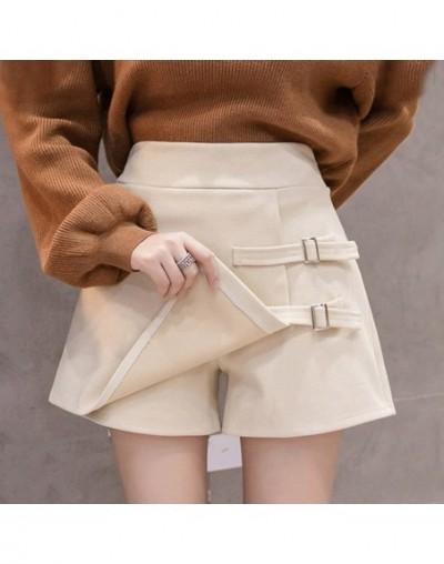 2019 High Waist Wool Shorts Women Autumn Winter Button Skirt Shorts Ladies Plus Size Asymmetrical Mini Shorts boots short fe...