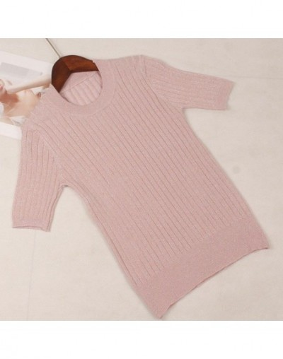 2019 Spring Summer Knitted Women T Shirt Fashion Lurex Glitter Short Sleeves Top Basic Rib Female Tshirt - pink T333 - 4G307...